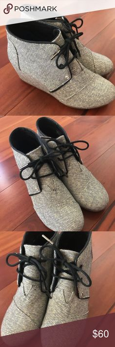 Toms Grey Wedges with Black Silver and Gold Accent Toms Grey Wedges with Black Silver and Gold Accent, Women's 8 W8 Super Cute!  Worn once and a little too small Toms Shoes Ankle Boots & Booties