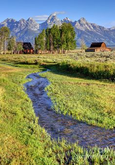 Grand Photograph - Stream And John Moulton Barn - Grand Teton National Park by Gary Whitton