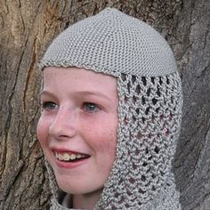 Crocheted hood by HoneyBee Bungalow is a fun and lightweight alternative to chainmail for a knight costume.