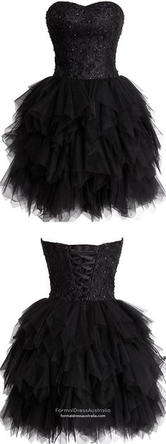Black Homecoming Dresses,Short Cocktail Dresses,Tulle Sweetheart Party Gowns,Lace and Tiered Prom Dresses,Fashionable Girls Club Dress Prom Dresses For Teens, Prom Dresses 2018, Dresses Short, Black Prom Dresses, Prom Dresses Online, Cheap Prom Dresses, Club Dresses, Pretty Dresses, Beautiful Dresses