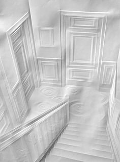 """Incredible Folded Paper Art """"Flight of Stairs and Doors"""" by Simon Schubert"""