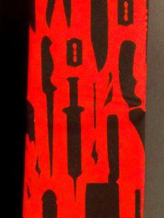 Black Weapon Print on Red Skinny Tie by BondStreetExit on Etsy