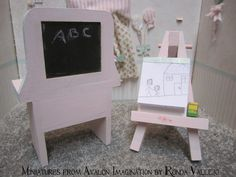 Miniature dollhouse 1:12 scale Shabby Chic Girl's Bedroom Furniture in pink with hand-painted roses. The bed is a toddler bed. via Etsy.