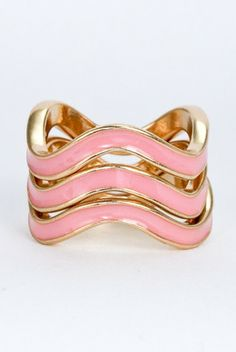 Pink chevron stackable ring