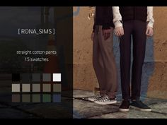 straight cotton pants for The Sims 4