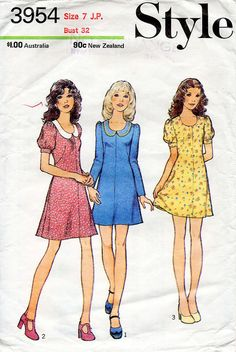 1970s Mini A Line Dress Pattern Style 3954 by BessieAndMaive