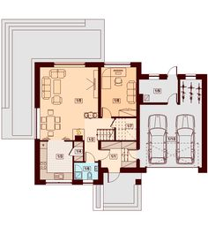 DOM.PL™ - Projekt domu DN NOELIA BIS 2M (garaż dwustanowiskowy) CE - DOM PC1-50 - gotowy koszt budowy Dream House Plans, Floor Plans, How To Plan, Rooms, Country Houses, Dinner, House, Bedrooms, Floor Plan Drawing