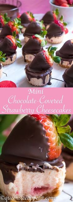 These Mini Chocolate Covered Strawberry Cheesecakes are made with a creamy bite-. These Mini Chocolate Covered Strawberry Cheesecakes are made with a creamy bite-sized strawberry Mini Desserts, Just Desserts, Delicious Desserts, Dessert Recipes, Yummy Food, Easter Desserts, Holiday Desserts, Chocolates, Yummy Treats