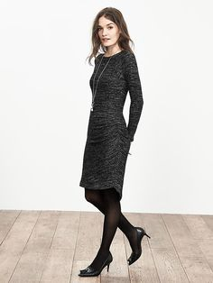Shirred Gray Knit Dress.  Great day to night dress.  I'm going to wear black knee high boots.