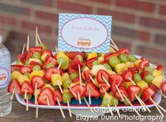 beaches, beach party idea, beach parti, birthday parties, fruit kabobs