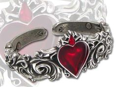 From punk rock bracelets, bangles, cuffs, and more, you'll find a variety of women's skull bracelets at Inked Shop. Browse Gothic bracelets and more here today! Goth Jewelry, Red Jewelry, Heart Jewelry, Heart Bracelet, Jewelry Bracelets, Gothic Jewellery, Jewlery, Enamel Jewelry, Heart Ring