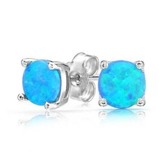 Bling Jewelry 925 Silver Round Synthetic Blue Opal Stud Earrings Basket Set 6mm *** Check this awesome product by going to the link at the image.