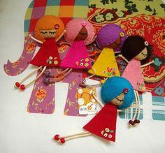 Felt, string and bead dolls