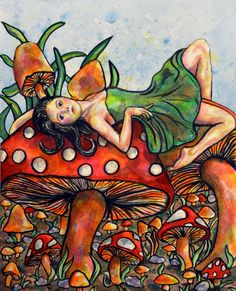 Original painting  Mushroom Garden by rachelledyer on Etsy, $60.00
