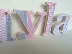 Baby Grey White Pink Wooden Letters Free Standing Hanging Nursery 20cm High Ebay