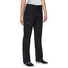 Under Armour Tricot Sweatpants ($35) ❤ liked on Polyvore featuring activewear, activewear pants, black, black sweatpants, under armour sweatpants, sweat pants, under armour and elastic sweatpants