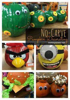 No-carve pumpkin decorating ideas for Halloween #halloween #pumpkins - Mommysavers.com