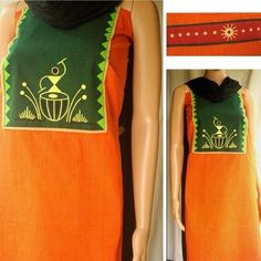 A vibrant orange pure Handloom Mangalgiri fabric in a deep green and red combination. It is endorsed with hand painted warli folk art for the pretty look. The sleeve pattern is shown on right.