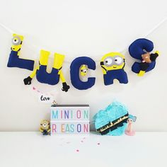 Minions theme name banner   Material : Felt  Instagram @LittleHappyPuffs