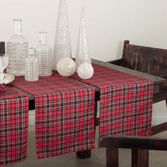 """Highland Holiday Red And Black Plaid Table Runner, 16""""X72"""" Rectangular"""