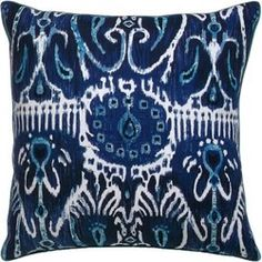 Cerva Pillow in navy and white Blue And White Pillows, Navy Pillows, Navy And White, Yellow Home Accessories, Accessories Shop, Room Color Schemes, Room Colors, Ikat Fabric, New Home Designs