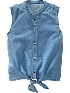 Girls Sleeveless Tie-Front Chambray Shirts Product Image