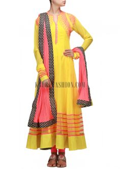Yellow anarkali suit embellished in resham embroidery
