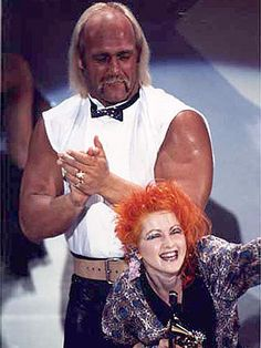 Hulk and Cyndi Lauper during the Rock n Wrestling era.