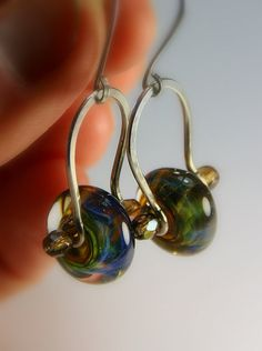 Monet's Garden Lampwork Beaded Silver Stirrup Earrings