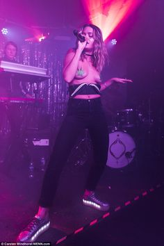 Swedish singer Tove Lo, 29, certainly made a statement during a special album launch performance at The Laundry Building, East London, on Tuesday night, performing topless with glittering cannabis leaves covering her bare chest