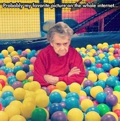 Photoshopped, but funny - Hilarious Pictures of the week, 65 images. Unhappy Grandma In Ball Pit