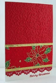 Jenfa Cards: Christmas Ribbon I love this card Simple Christmas Cards, Christmas Card Crafts, Christmas Ribbon, Christmas Paper, Christmas Greeting Cards, Greeting Cards Handmade, Handmade Christmas, Christmas Poinsettia, Holiday Crafts