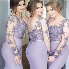 2017 Long Sleeves Mermaid Scoop Lilac Custom Bridesmaid Dresses , Wedding Party Dresses , PD242