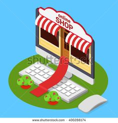 Online shop opening concept. Flat 3d isometric isometry e-commerce internet technology business web vector illustration. Red carpet from computer monitor over keyboard from store entrance to street.