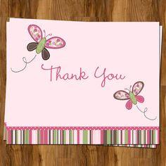 Baby Shower o tarjetas de agradecimiento de los niños, juego de 50 tarjetas y envío de sobres gratuito de plegamiento de la mariposa