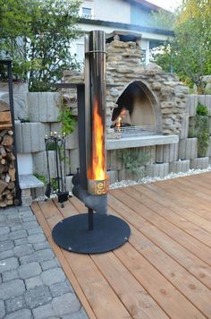 Pellet Torch - garden torch for the garden - completely without electrical components, br . Fire Pit Grill, Diy Fire Pit, Fire Pit Backyard, Backyard Patio, Garden Torch, Garden Pool, Outdoor Fire, Outdoor Living, Outdoor Decor