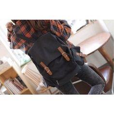 Black Canvas Backpack School Bag Super Cute for School