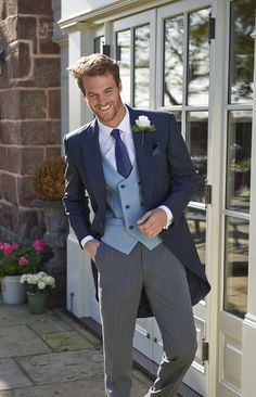 FORTON A modern Navy, lightweight Mohair Tailcoat with matching or striped trousers. This lightweight tailcoat is also referred to as a morning suit. Groom Morning Suits, Wedding Morning Suits, Wedding Men, Wedding Suits, Wedding Styles, Wedding Outfits For Groom, Wedding Groom, Groom Outfit, Groom Attire