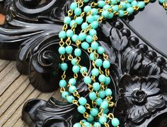 Rosary Bead Chain Turquoise Beads Brass Links - 4mm Czech Beads Fire Polished Faceted - 3 Feet Linked Bead Chain. $14.75, via Etsy.