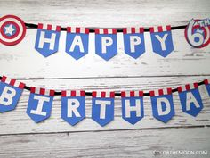 This Captain America banner is AWESOME and so easy to make! What a great idea for a Captain America birthday party!