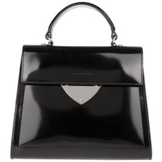 Coccinelle Shiny Borsa Pelle Spazzolato Black in black, Handle Bags (420 CAD) ❤ liked on Polyvore featuring bags, handbags, shoulder bags, black, hand bags, top handle handbags, metallic shoulder bag, handbags purses and embellished handbags