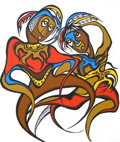 Daphne Odjig [footprints] Woodlands meets Picasso in artist's vibrant style - Windspeaker - AMMSA Native Art, Native American Art, Daphne Odjig, Bear Footprint, Woodlands School, Dance Paintings, Bear Claws, Canadian Art, Indigenous Art