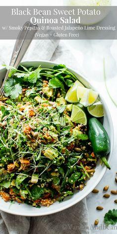Black Bean Sweet Potato Quinoa Salad with Smoky Pepitas and Roasted Jalapeño Lime Dressing - Vanilla And Bean