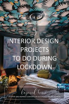 5-interior-design-projects-to-do-during-lockdown Pink Wallpaper Bedroom, Wallpaper Ceiling, How To Hang Wallpaper, Wallpaper Ideas, Blue And Pink Bedroom, Dark Green Living Room, Green Lounge, Design Projects, Design Ideas