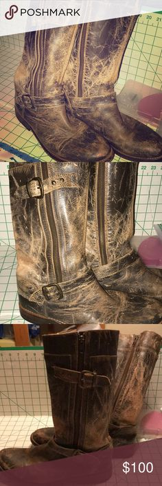 "BedStu Cobbler Series Moto Boots Distressed BedStu Moto Boots size 9.5. Amazingly soft and comfortable. Worn but plenty of life left. Double sided zippers for easy on/off  2 buckles one low one high. 1/2-3/4"" heel.  Cobbler Series. Bed Stu Shoes Combat & Moto Boots"