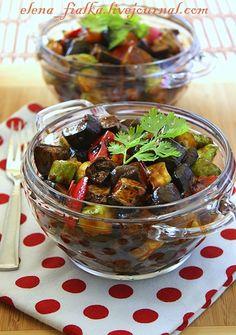 кулинарные рецепты с фотографиями - Баклажаны,кабачки и перцы в кисло-сладком соусе