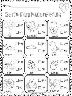FREEBIE Earth Day Printables Nature Walk Scavenger Hunt Science