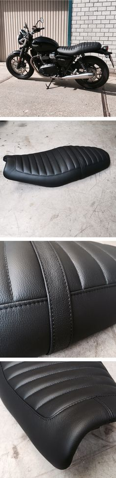 Redid this Triumph Streettwin seat. All new black leather cover on the original foam.  #custom #leather #triumph #streettwin #tracker #scrambler #caferacer #chopper #choppershit #bobber #motorcycle #silvermachine #seat #caferacerxxx #vintagemotorcycle #caferacerculture #custommotorcycle #caferacers #bratstyle #caferacersofinstagram #vintage #bikersofinstagram #croig #bikes #caferacersociety #caferacersofinstagram #tucknroll #selfmade #handmade