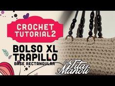 Bolso de trapillo XL con base rectangular. En nuestra sección Crochet paso a paso en español. Hemos utilizado para la elaboración de este bolso un trapillo s...