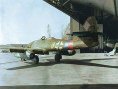 """Messerschmitt Me-262A-1a (W.Nr 112385) """"Yellow 8"""", 3. staffel Jagdgeschwader 7 captured at Stendal Airfield by the US 5th Armored Division, April 15 1945. (Stendal airfield (Fliegerhorst), 3.5 km NNW..."""